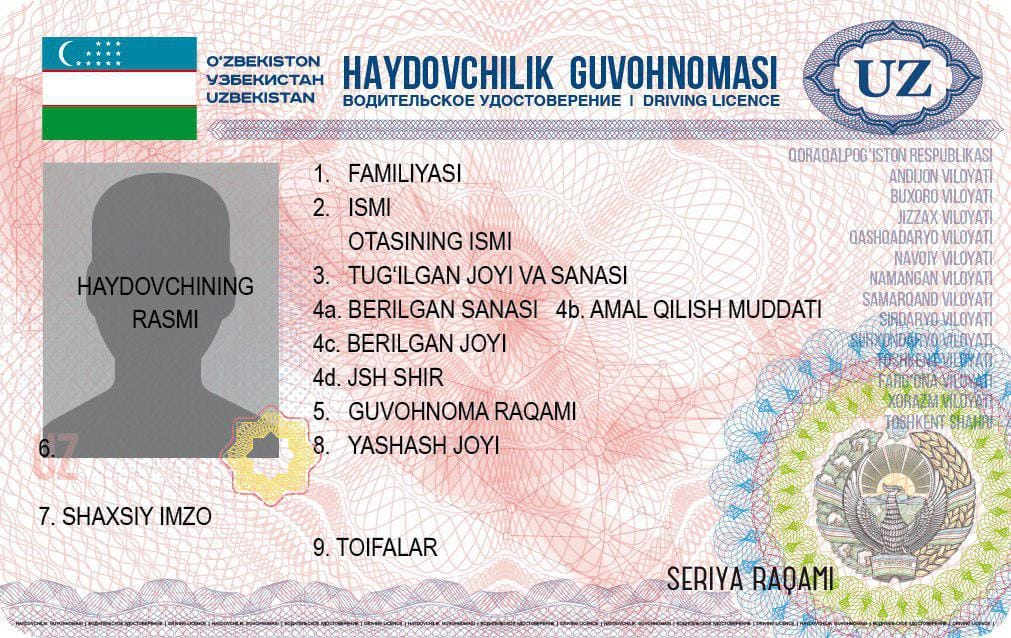 Образец национального водительского удостоверения/лицевая сторона.Источник: UZ24
