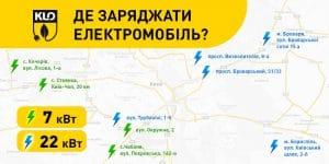 Карта АЗС KLO, на которых установлены электрозарядки для авто